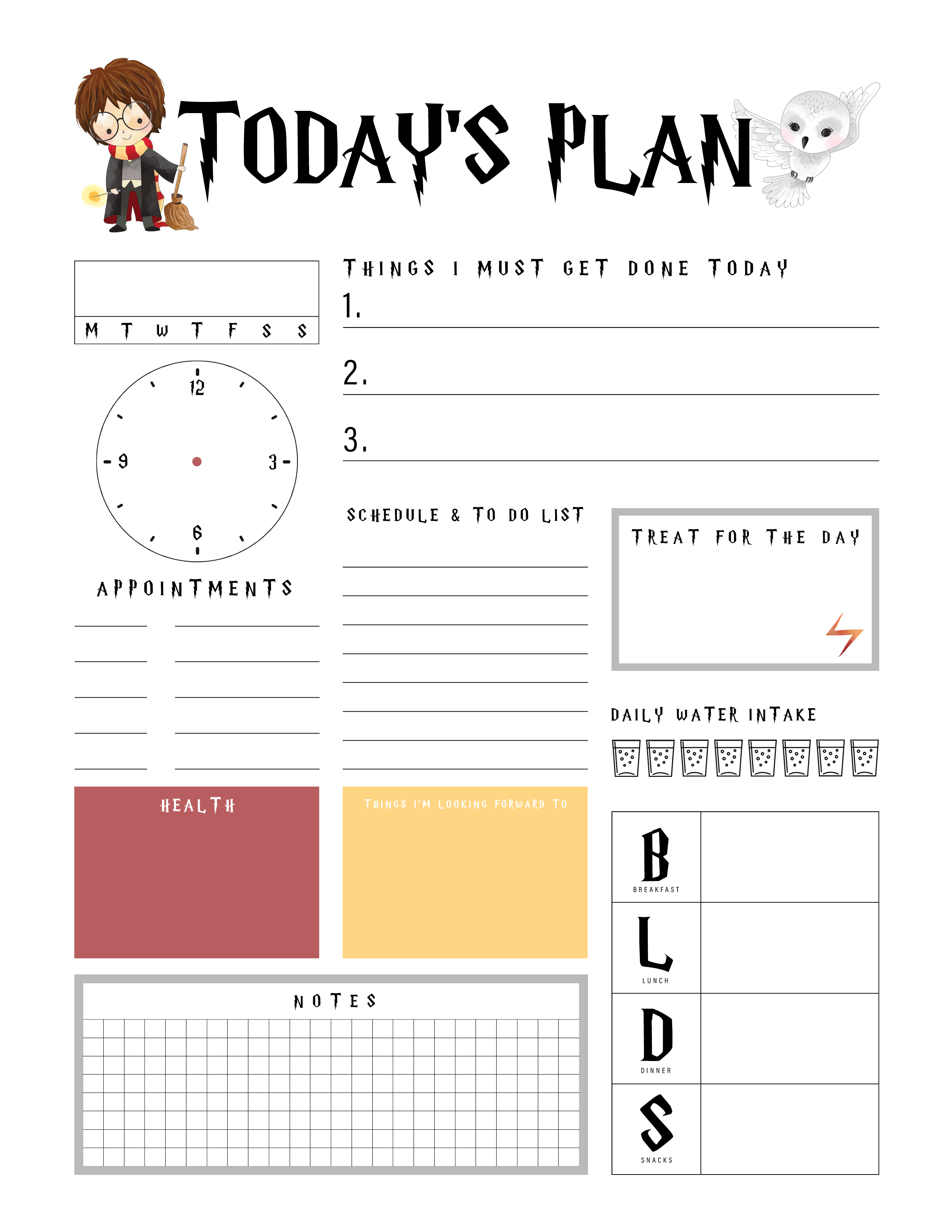 Harry Potter Free Printable Daily Planner