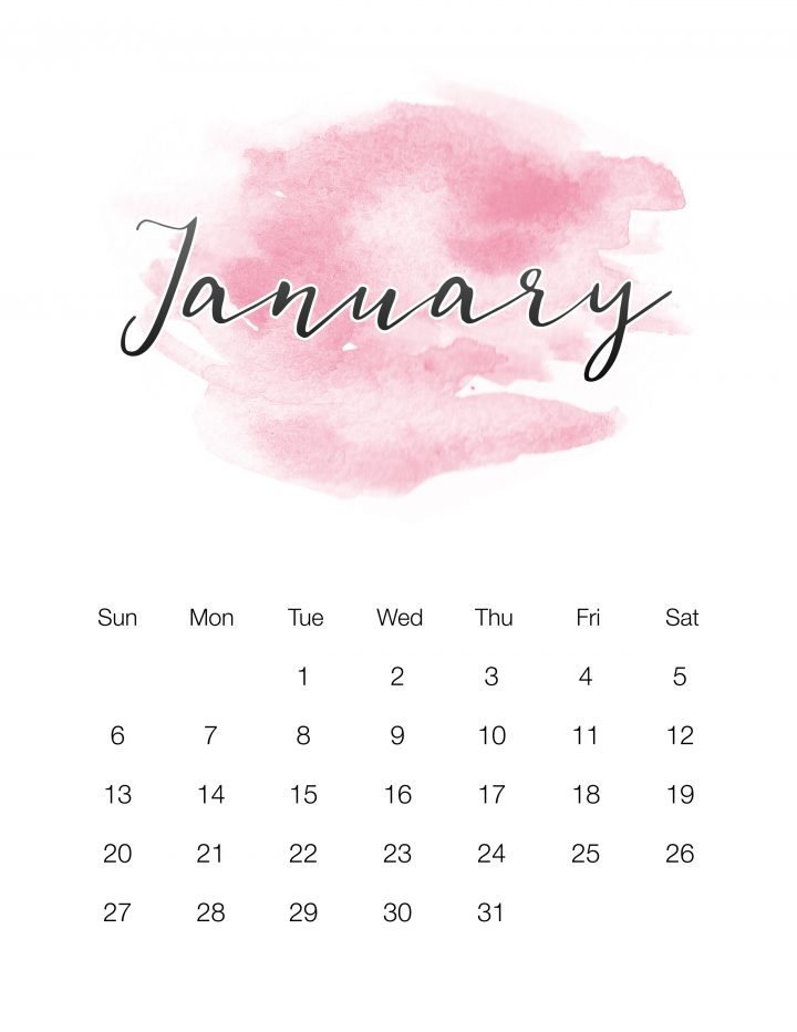 This Beautiful Free Printable 2019 Watercolor Calendar will get your organized for the New Year in style! So come on in and download... it's FREE!