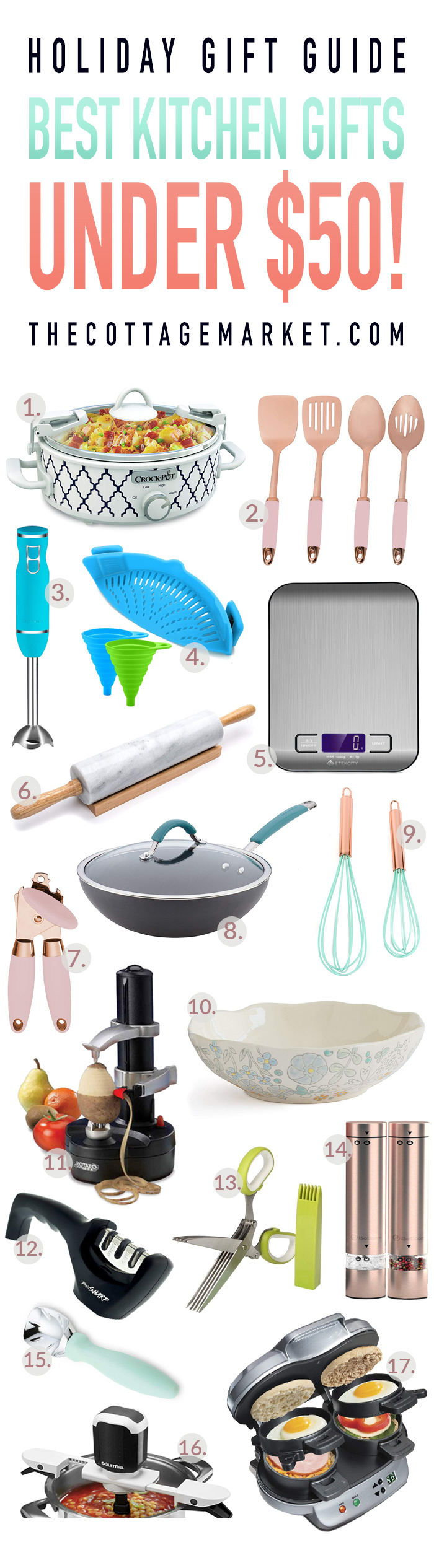 This Holiday Gift Guide for the Best Kitchen Gifts Under $50 is going to take care of all of your friends and family that love to cook!