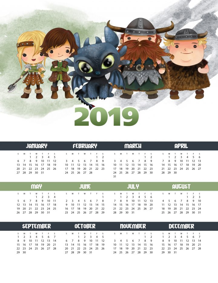 A Free Printable  2019 How To Train Your Dragon One Page Calendar is perfect for Kids of ALL ages!  A FUN way to keep track of important dates and events!
