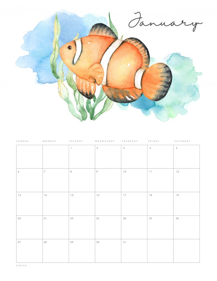 Free Printable 2019 Under the Sea Calendar is waiting for you to print! Filled with gorgeous Ocean Life from Whales to Star Fish! Enjoy the Magic of the Sea