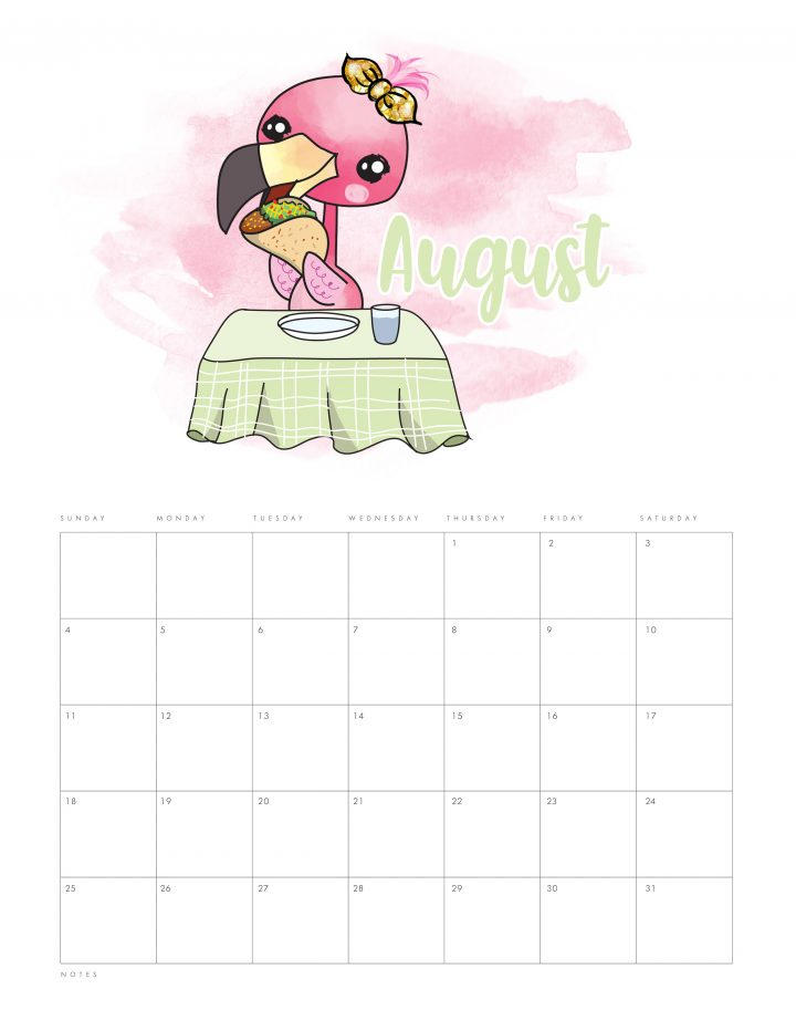 Free Printable 2019 Funny Flamingo Calendar that is waiting to become part of your New Year! Get organized and remember all those dates with a smile!
