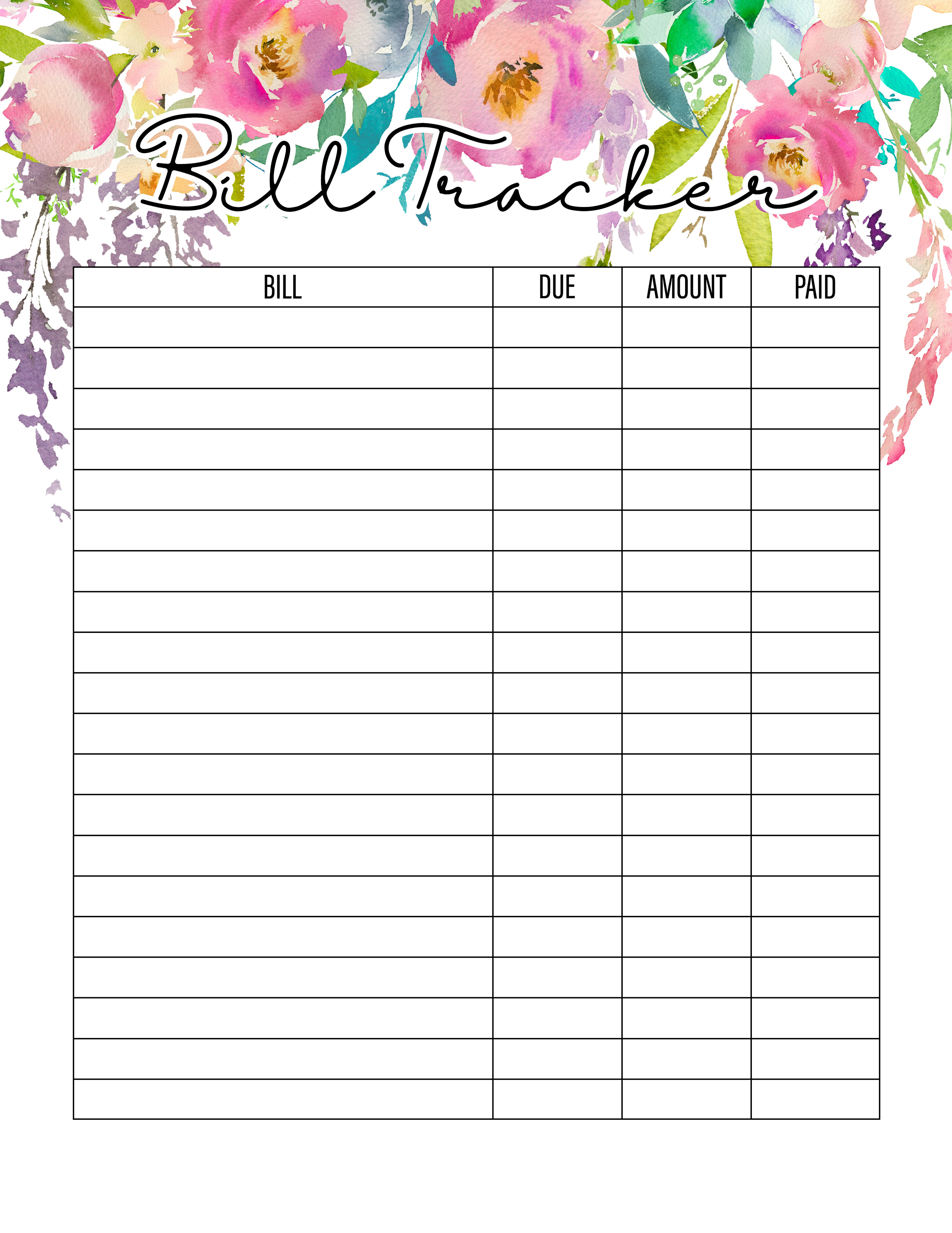 It's just a graphic of Free Printable Bill Tracker within downloadable