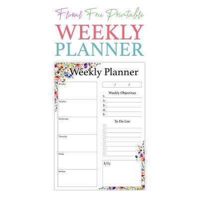 Floral Free Printable Weekly Planner