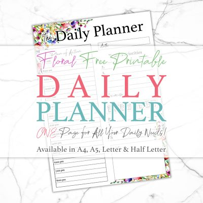Floral Free Printable Daily Planner
