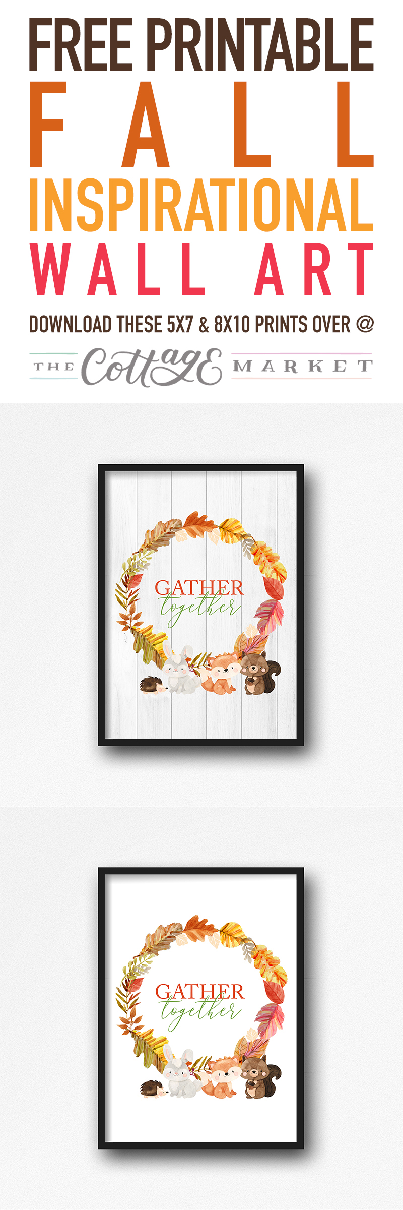 Time to enjoy some whimsical Woodland Creatures in this lovely Free Printable Fall Inspirational Wall Art that will look fabulous throughout the whole Fall Season