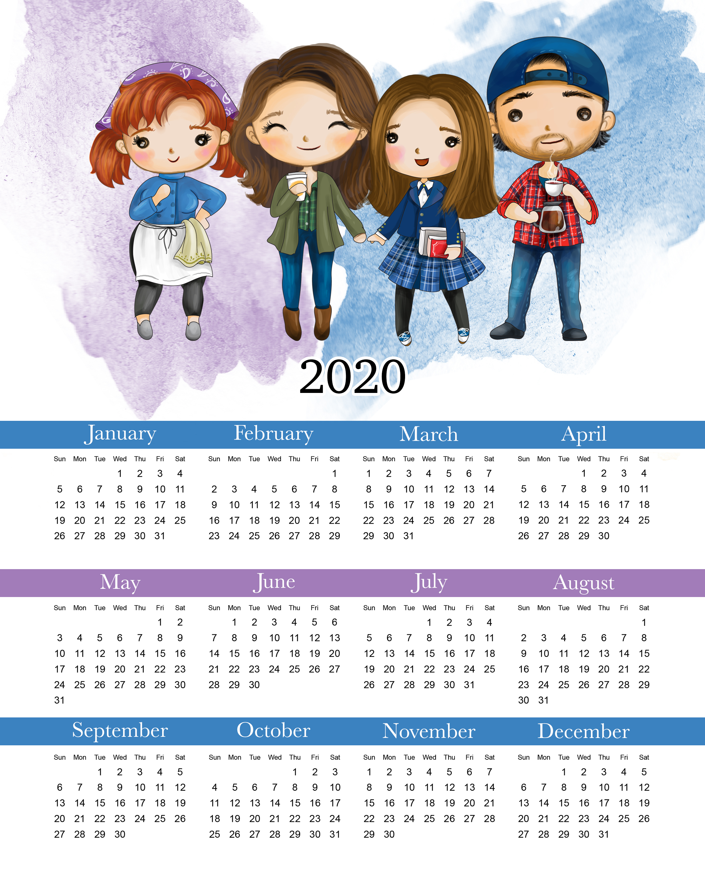 Come on over and snatch up your Free Printable 2020 Gilmore Girls Calendar that will keep you organized all year long... Guaranteed to make you smile!