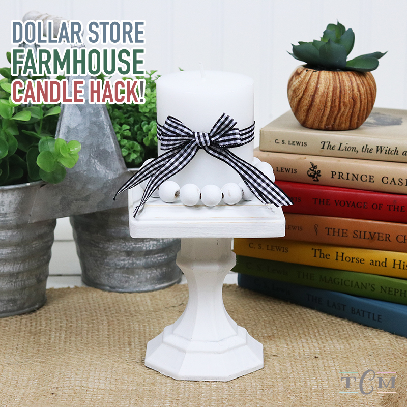 This Quick and Easy Dollar Store Farmhouse Candle Hack is the 4th DIY Farmhouse Dollar Store Hack in our new series!  It's amazing how quick... easy and budget friendly these creations can be