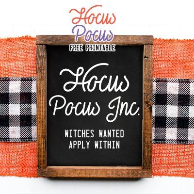 Hocus Pocus Free Printable Wall Art