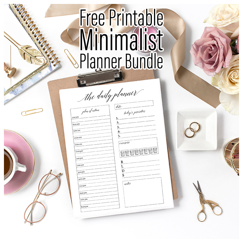 Here's your Free Printable Minimalist Planner Bundle. It's fresh... crisp and to the point! Plus it is good each and every year! It will get you organized all year round.
