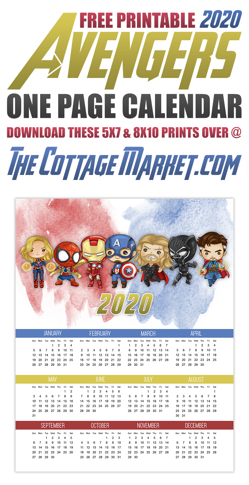 Here is a treat for you today!  a Free Printable 2020 Avengers One Page Calendar!  Perfect for all the Super Hero Lovers out there! A Free Printable Avengers 2020 Calendar is just what you need!