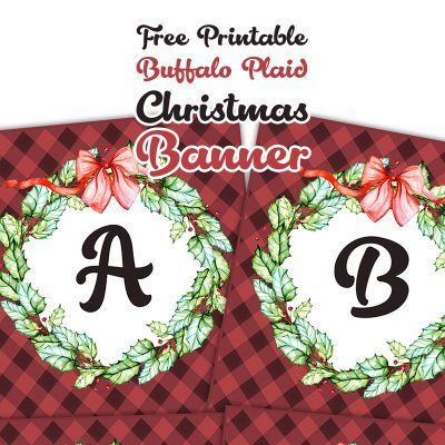 Free Printable Buffalo Plaid Christmas Banner