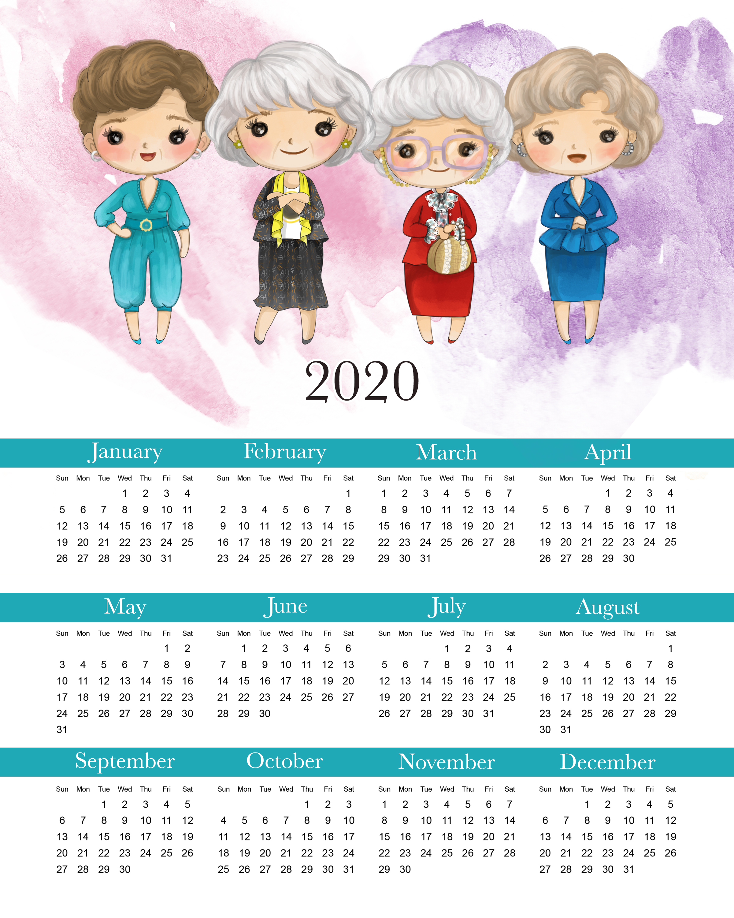 Get a jump start on the New Year with this Fun Free Printable 2020 Golden Girls Calendar. No matter what your age these ladies will bring a smile to your face!