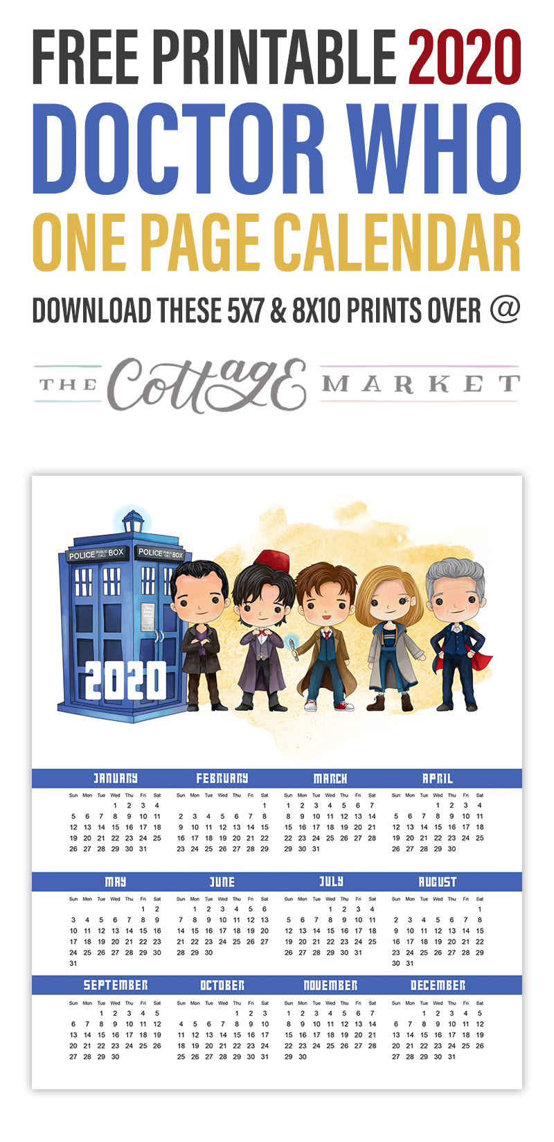 This Free Printable 2020 Doctor Who Calendar is just what you need to keep your organized and on time this coming year!  Come on over and print one of your very own!