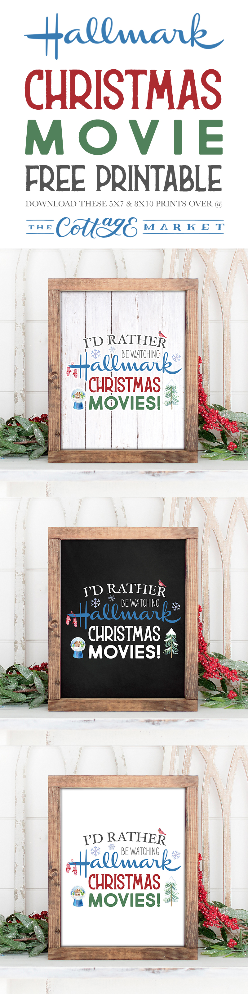 This Hallmark Christmas Movie Free Printable comes in 3 different styles and 2 different sizes, we are sure that one will be perfect for you!  Share one with a friend!!!