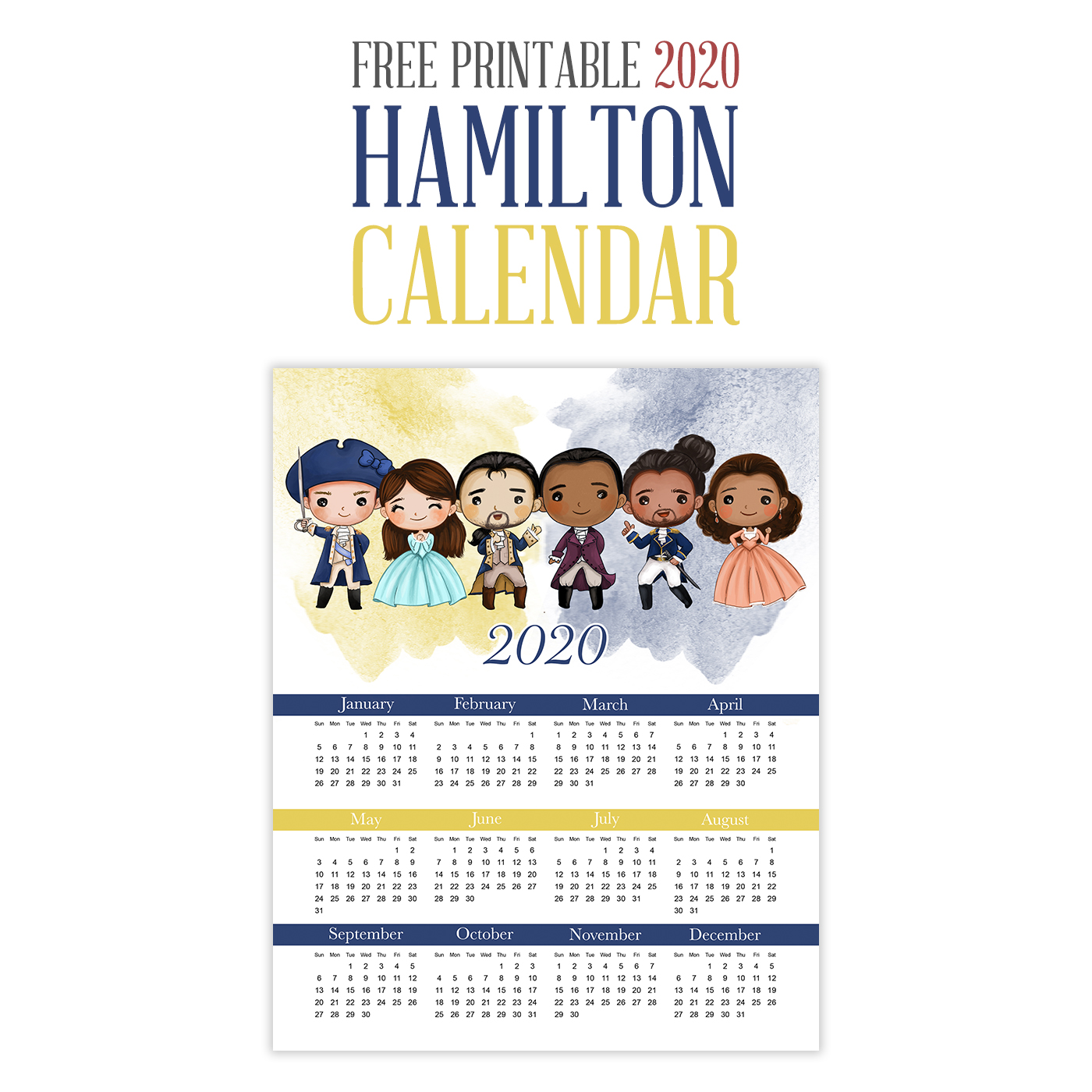 This Free Printable 2020 Hamilton Calendar is just what you need to keep your organized and on time this coming year! Come on over and print one of your very own!