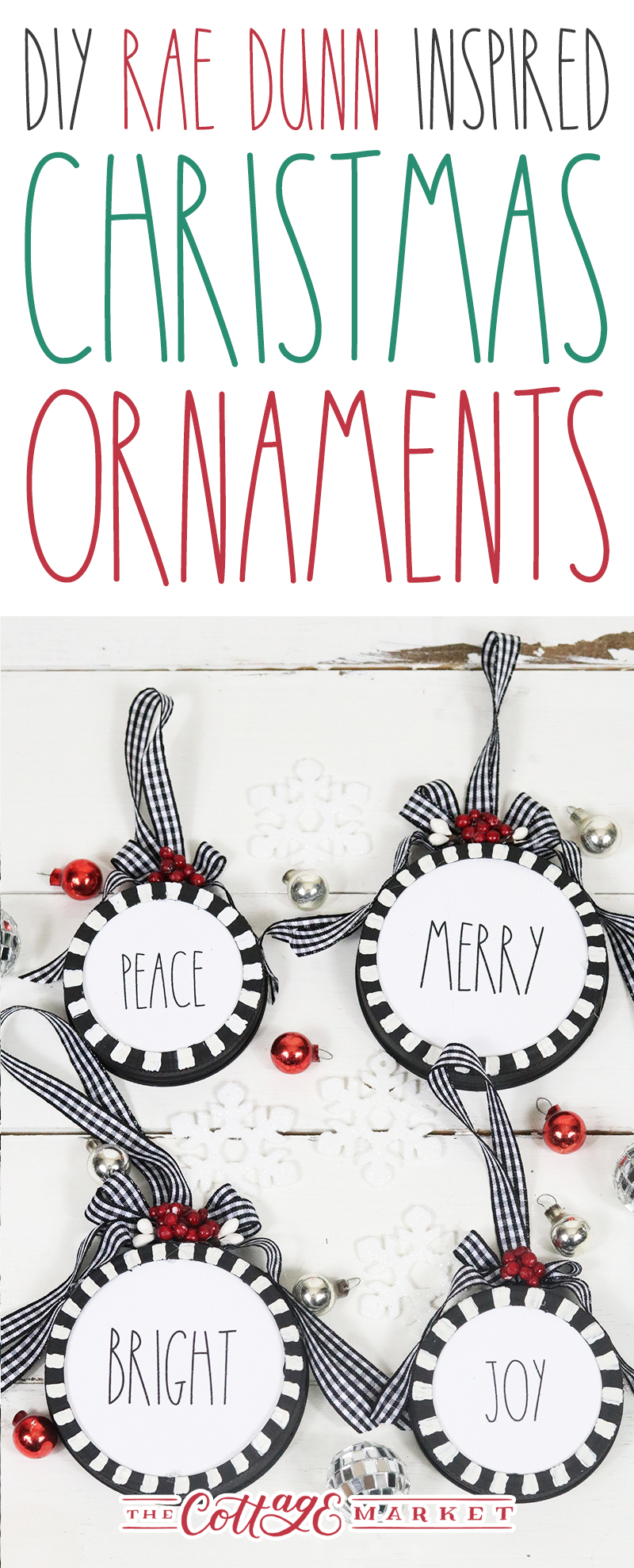 These DIY Rae Dunn Christmas Ornaments come with Free Printables to make it super easy for you to create!  Mason Jar lids and a few supplies and there you have it!