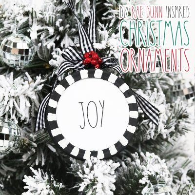 DIY Rae Dunn Christmas Ornaments Plus Free Printables