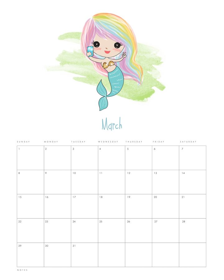 This Free Printable 2020 Kawaii Mermaid Calendar is waiting for you to print so it can get you totally organized for the brand new year!