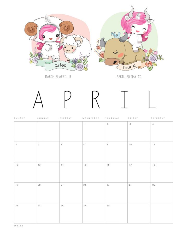 This adorable Free Printable 2020 Zodiac Sign Kawaii Unicorn Calendar is just waiting to help you get organized this New Year.