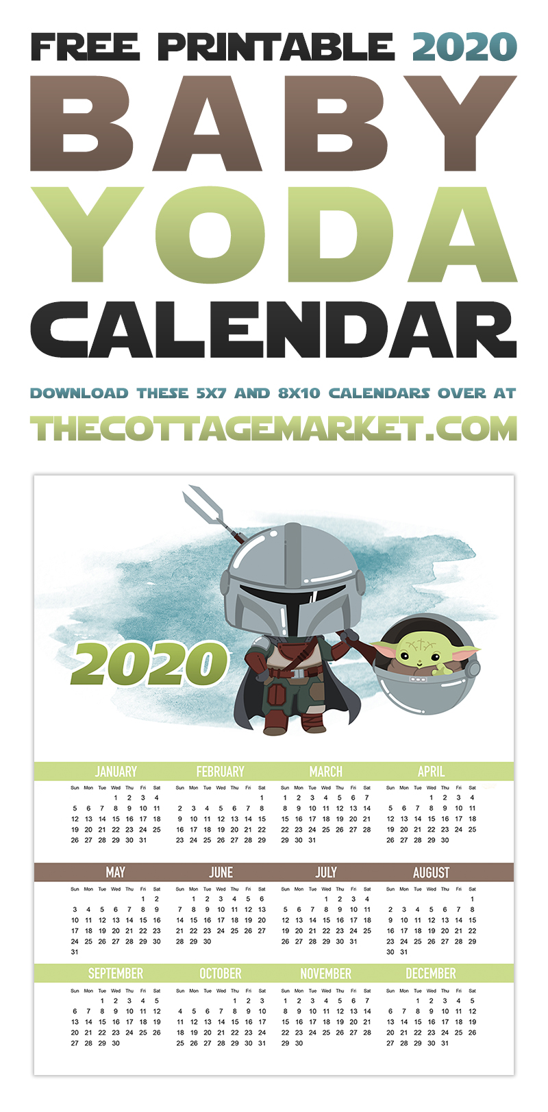 This Free Printable 2020 Baby Yoda Calendar is just what the New Year Needs!  This little cutie will help you get organized in 2020 in the cutest way!