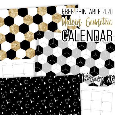 Free Printable 2020 Modern Geometric Calendar