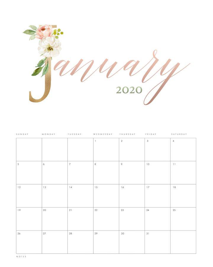 Pretty Floral Free Printable 2020 Calendar - The Cottage Market