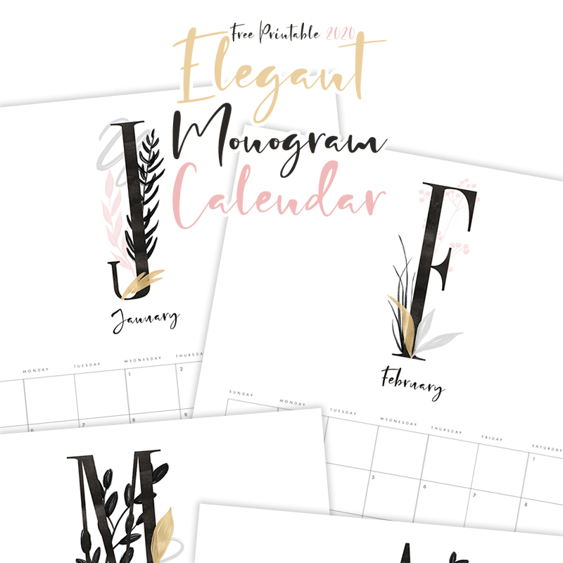This Free Printable 2020 Elegant Monogram Calendar will bring a touch of Elegance and Organization into your whole year! A Minimalist look with just a little extra!