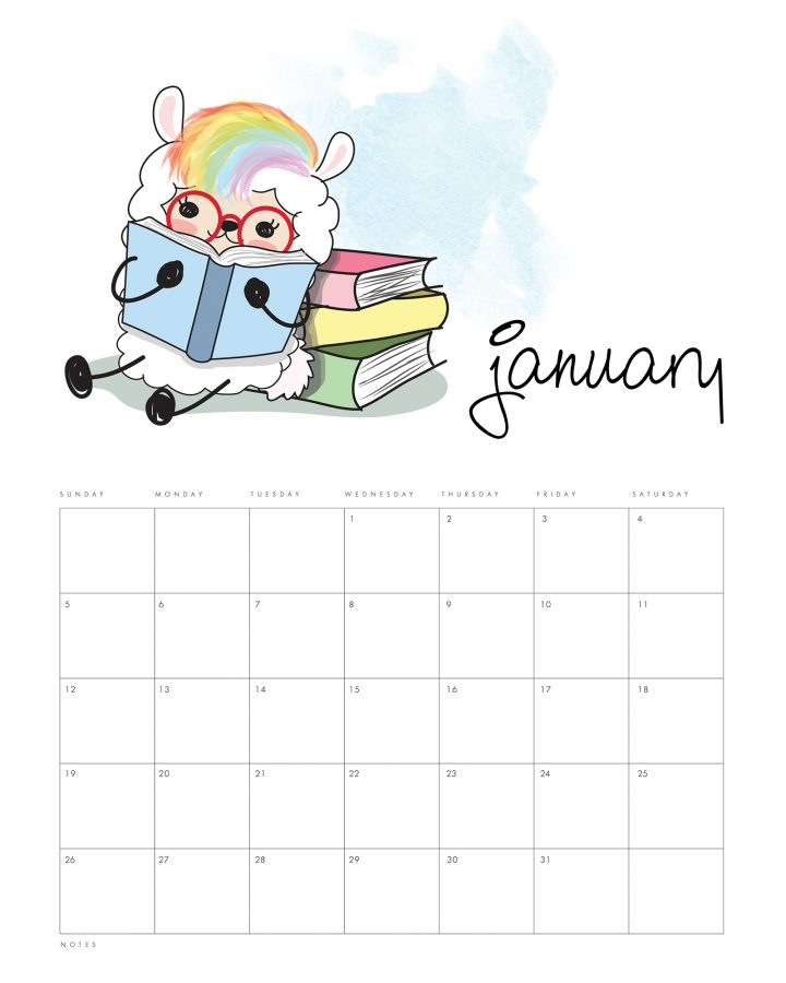This Free Printable 2020 Kawaii Llama Calendar is ready and waiting to be printed out so it can get you totally organized for the entire year!