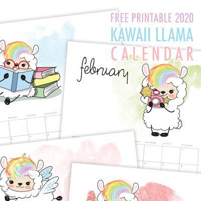 Free Printable 2020 Kawaii Llama Calendar
