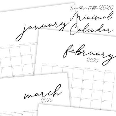 Free Printable 2020 Minimal Calendar