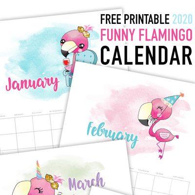 Free Printable 2020 Funny Flamingo Calendar