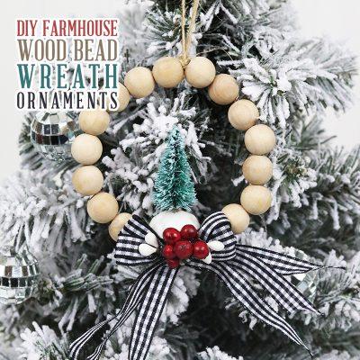 DIY Farmhouse Wood Bead Wreath Ornaments