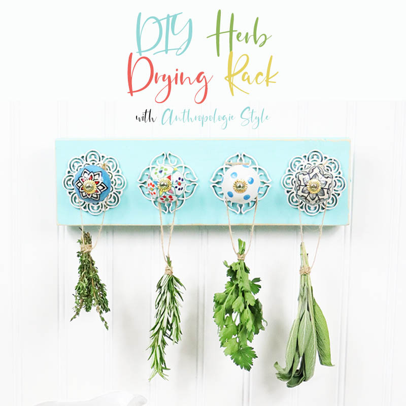 This DIY Herb Drying Rack is perfect for the Cook, Gardener or anyone that just loves Herbs in their daily cooking and loves a pretty new wall hanging for the Kitchen.