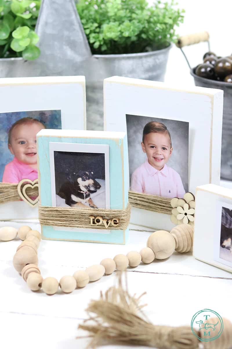 These Diy Farmhouse Style Wood Photo Blocks are so very easy to make and truly look amazing!  You can make them in any color or stain... embellish them or not and you can change photos in a second... really!
