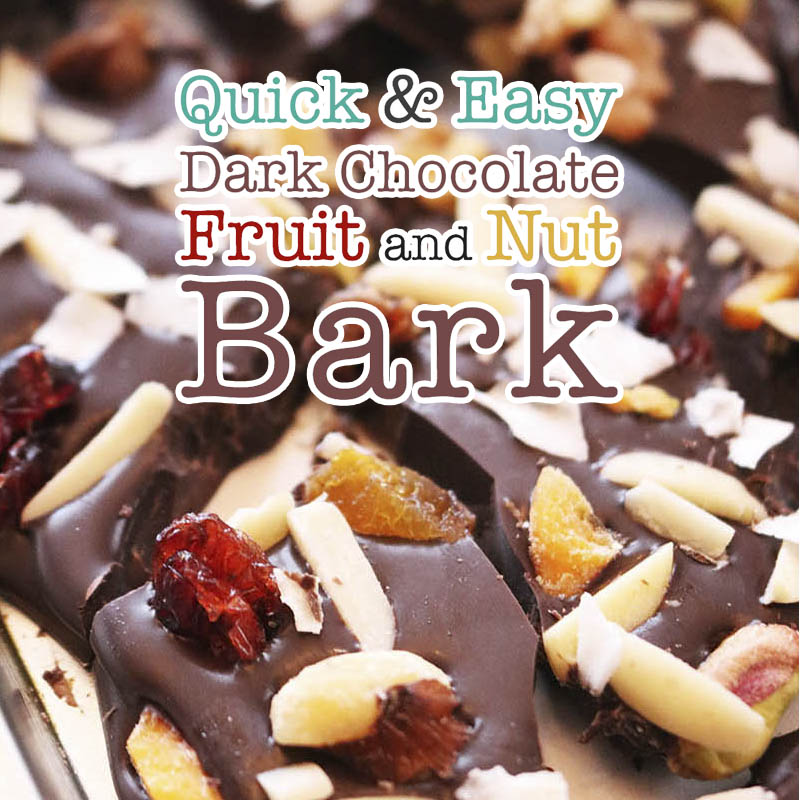 This Quick and Easy Dark Chocolate Fruit and Nut Bark is so delicious and can be made in no time at all! Quick and Easy Chocolate Bark makes the most delicious treat and gift.