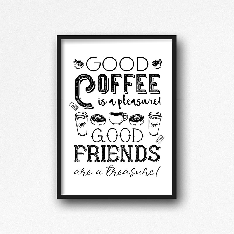 This Free Printable Coffee Wall Art is going to look amazing in Your Kitchen or maybe even your Office! It comes in 2 different sizes and 3 different backgrounds!