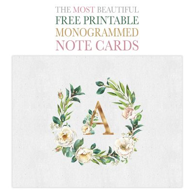 The Most Beautiful Free Printable Monogrammed Note Cards