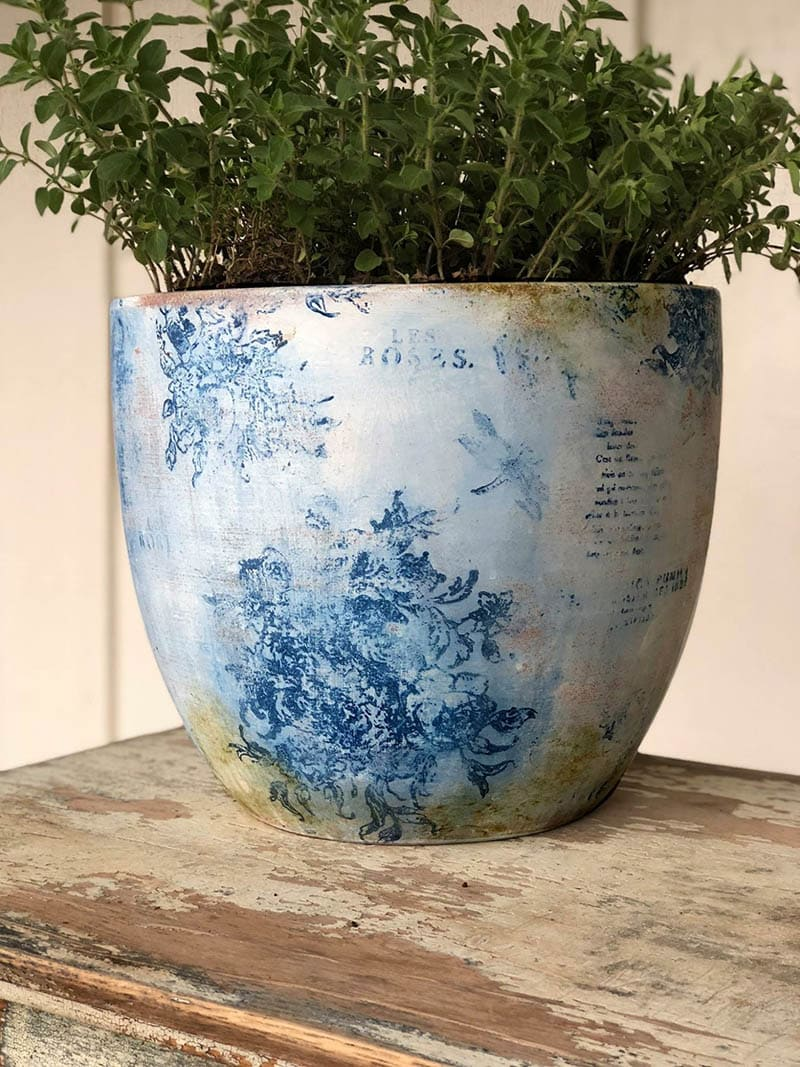 Vintage Shabby Chic Painted Small Terracotta Plant Pot