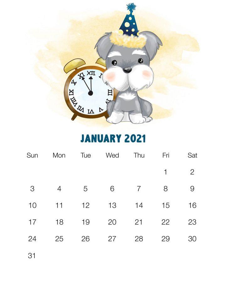 2021 January Calendar Cute Wallpaper