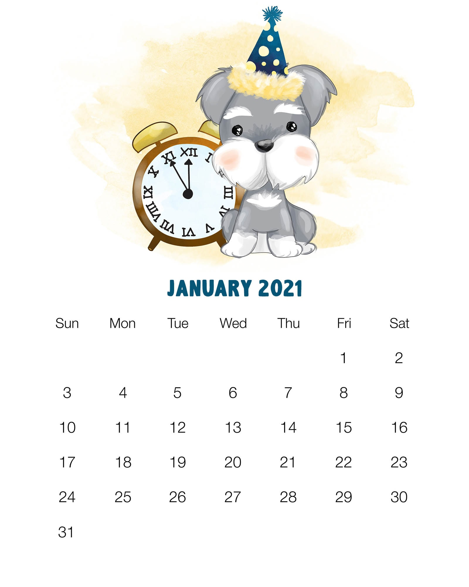 Free Printable 2021 Cute Dog Calendar The Cottage Market