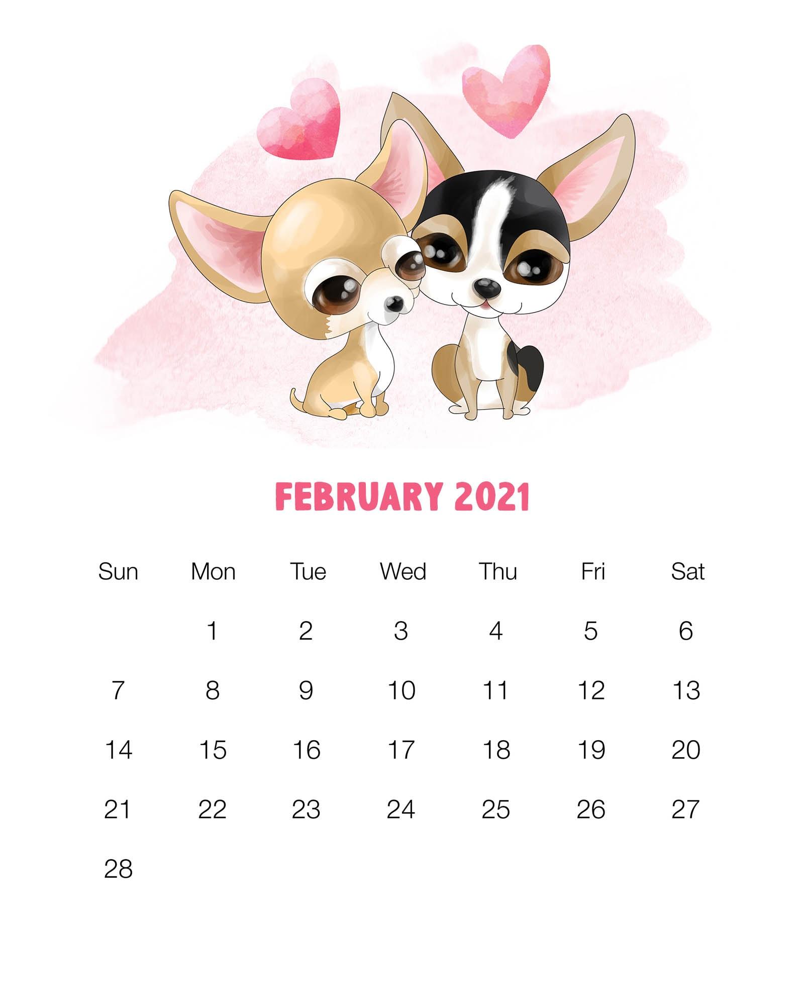 Free Printable 2021 Cute Dog Calendar - The Cottage Market