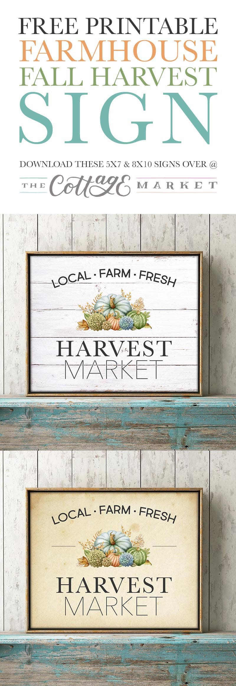 This Free Printable Farmhouse Fall Harvest Sign will bring a smile to your Wall, Gallery Wall, Vignette and more this Fall Season.  Comes in 2 sizes and 4 styles... ready to be framed!