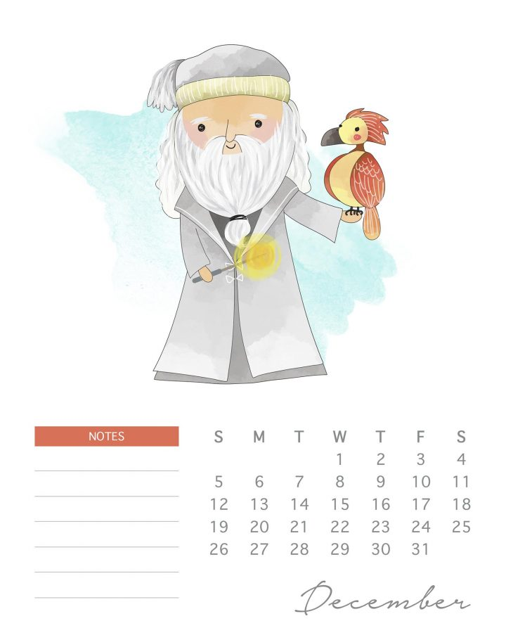Free Printable 2021 Watercolor Harry Potter Calendar