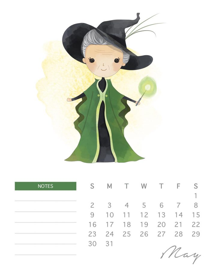 Time for your Free Printable 2021 Harry Potter Calendar to kick off The Cottage Market's 2020 Free Printable Calendar Season!