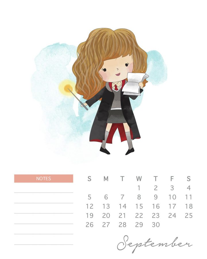 Free Printable 2021 Watercolor Harry Potter Calendar - The ...
