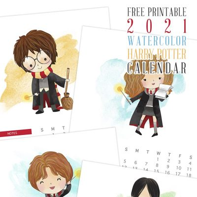Free Printable 2021 Watercolor Harry Potter Calendar