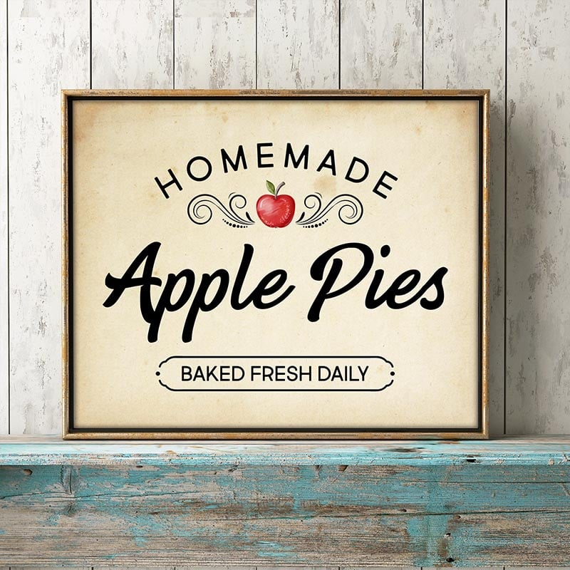 This Free Printable Homemade Apple Pie Sign will bring a smile to your Wall, Gallery Wall, Vignette and more this Fall Season. Comes in 2 sizes and 4 styles… ready to be framed!