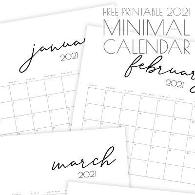 Free Printable 2021 Minimal Calendar