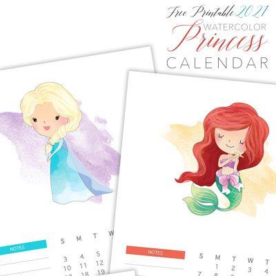 Free Printable 2021 Watercolor Princess Calendar